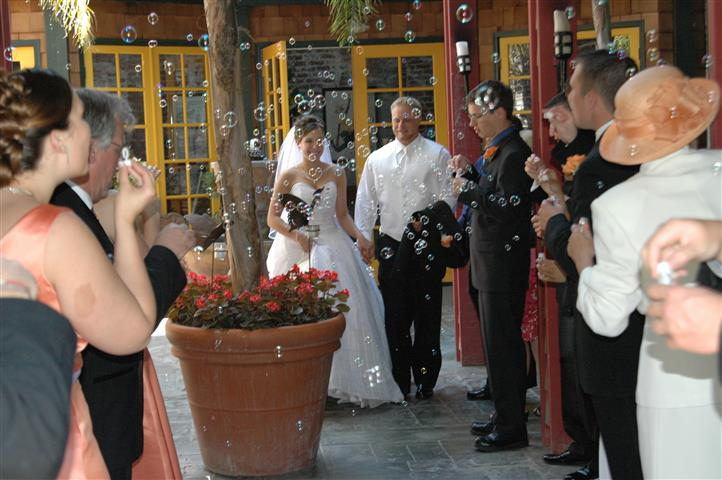Bride and groom, bubbles