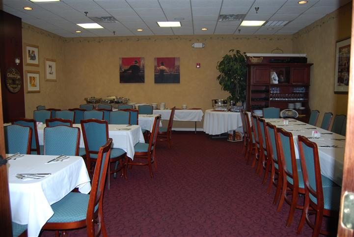 Dining area with catering tables towards the back