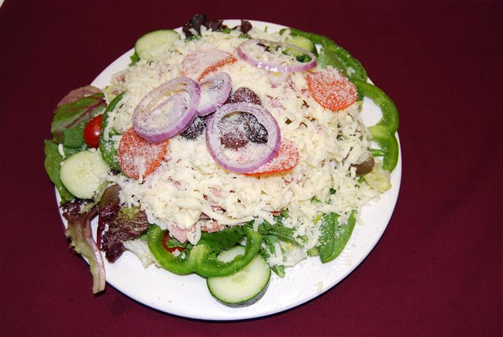 Salad toppd with cheese