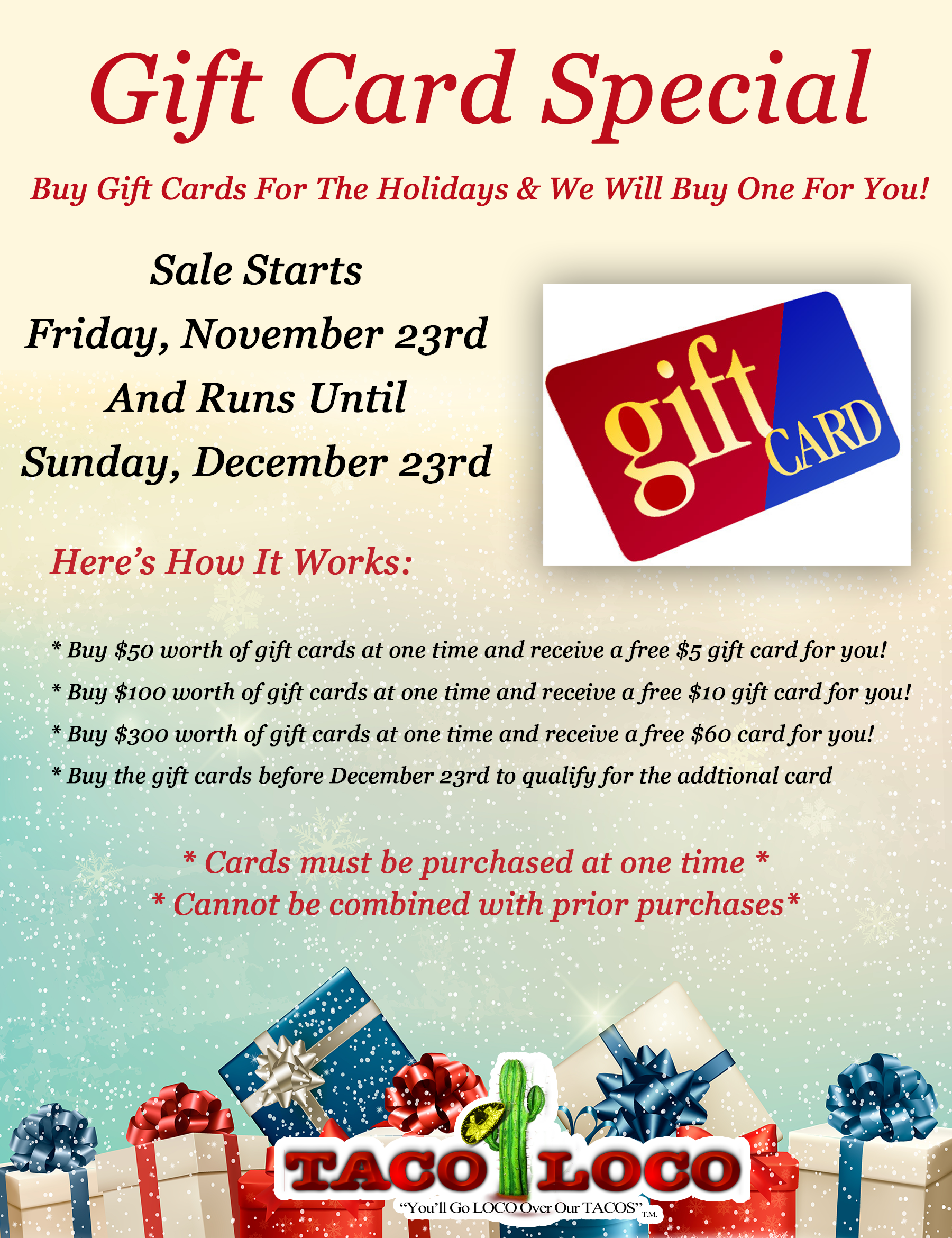 Gift Card Special - BOGO until December 23rd 2018
