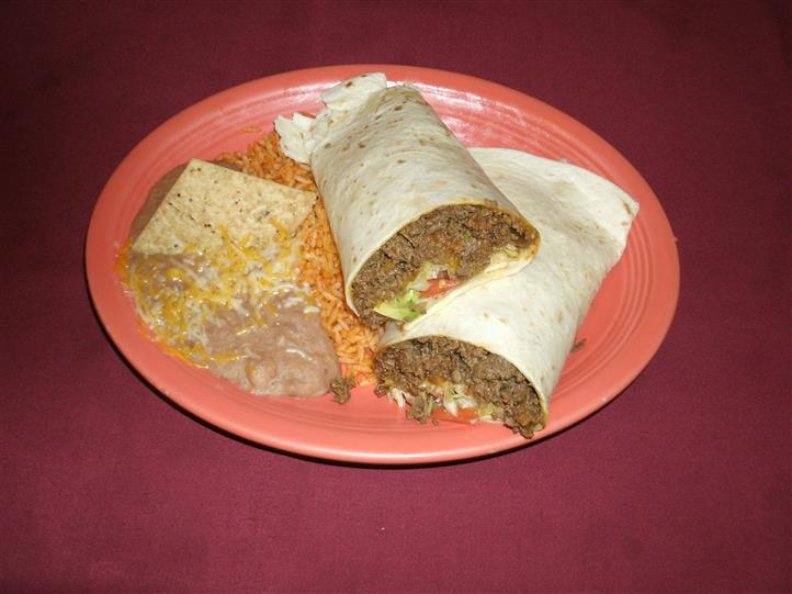 Burrito with rice and beans