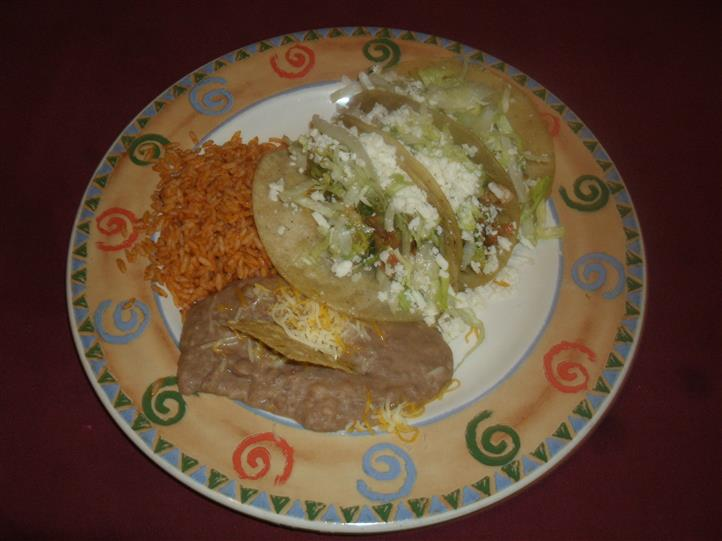 Tacos rice and bean paste