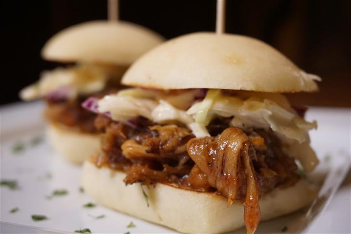 Smoked brisket sliders with cole slaw