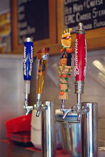 Beer taps with different logos