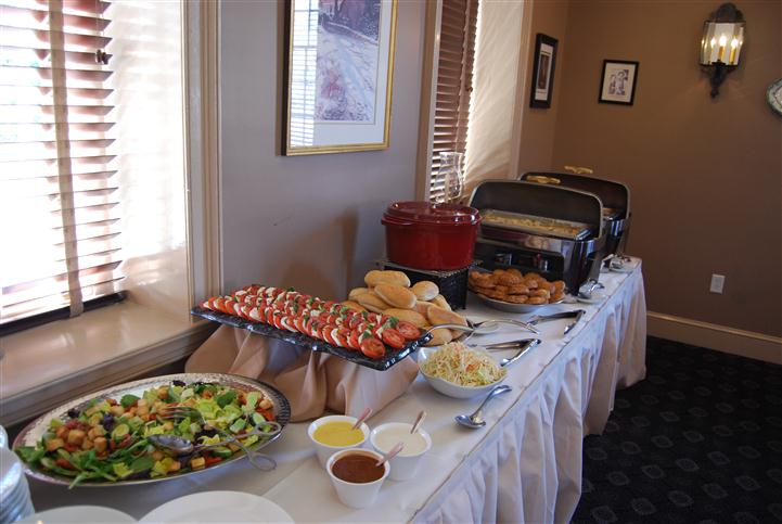 Catering table filled with food