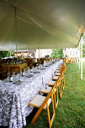 Catering table under a tent