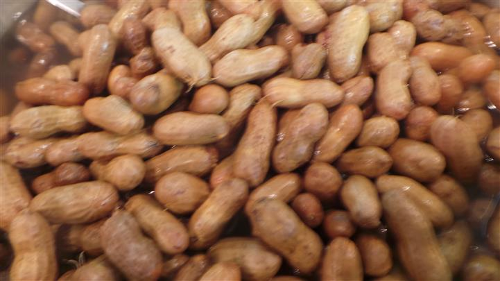 Peanuts stacked on each other