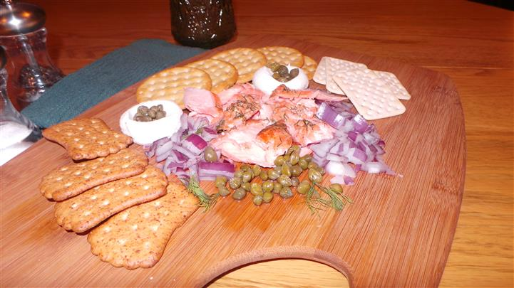 Meat, Cheese, Vegetables, and Crackers