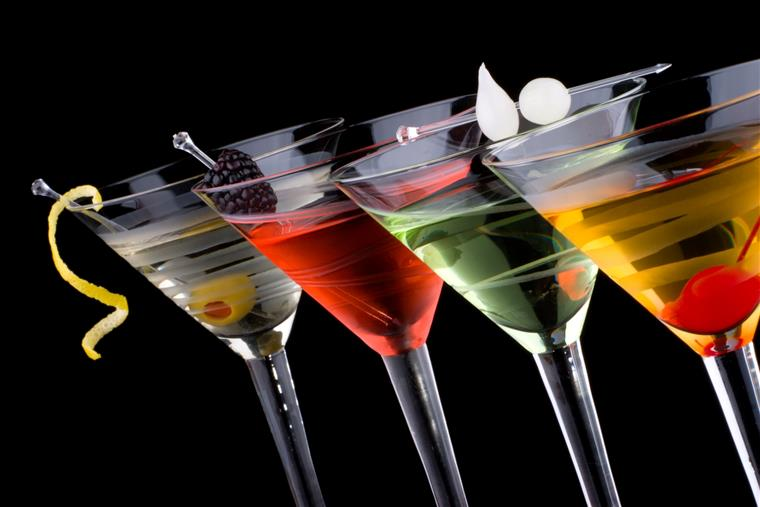 Colorful martinis in glasses