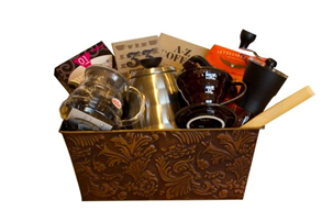 gift box of coffee related items