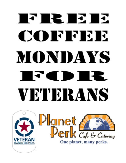 free coffee mondays for veterans flyer