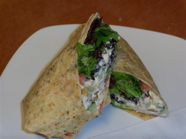 plated chicken salad wrap
