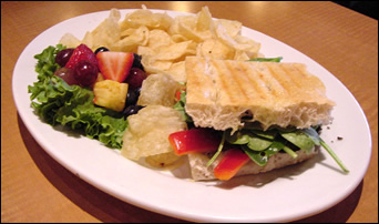 grilled sandwich with potato chips and fresh fruit on the side