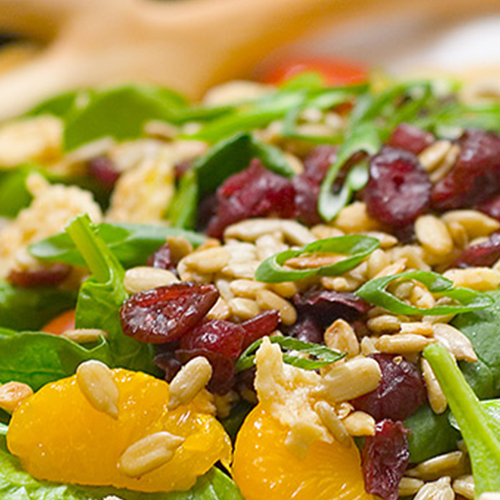 close up of spinach salad with sunflower seeds and cranberries