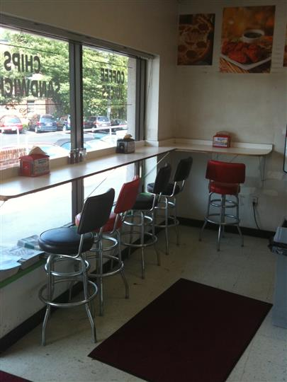 Front window counter with tall stools