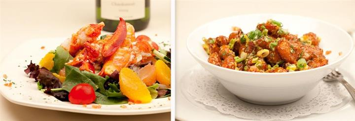 A combination of a photo of a fresh green salad with shrimp and a bean chili bowl