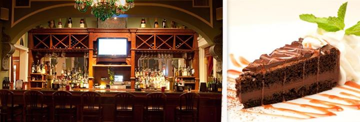 A combination of an interior photo of the restaurant's bar, and a dish of chocolate cake served with cream and cherry syrup