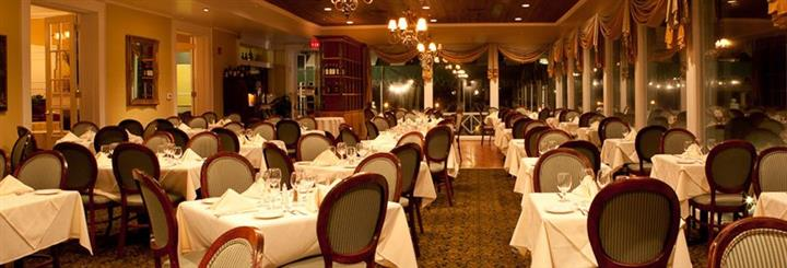 Interior photo of the restaurant's tables set