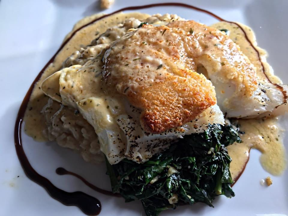 GELSTON CHICKEN: parmesan encrusted all natural chicken breast with a lemon buerre blanc sauce, mashed potatoes & vegetables