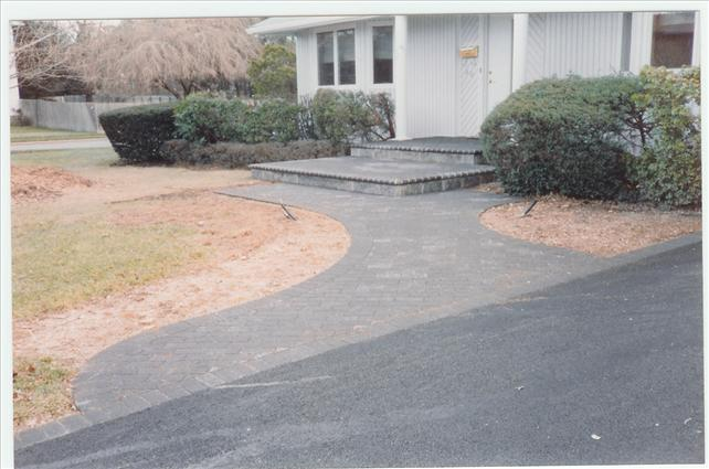 gray walkway with two wide steps