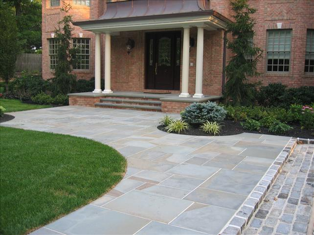 large square white stone walkway