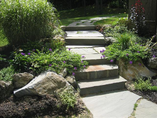 stone steps in backyard