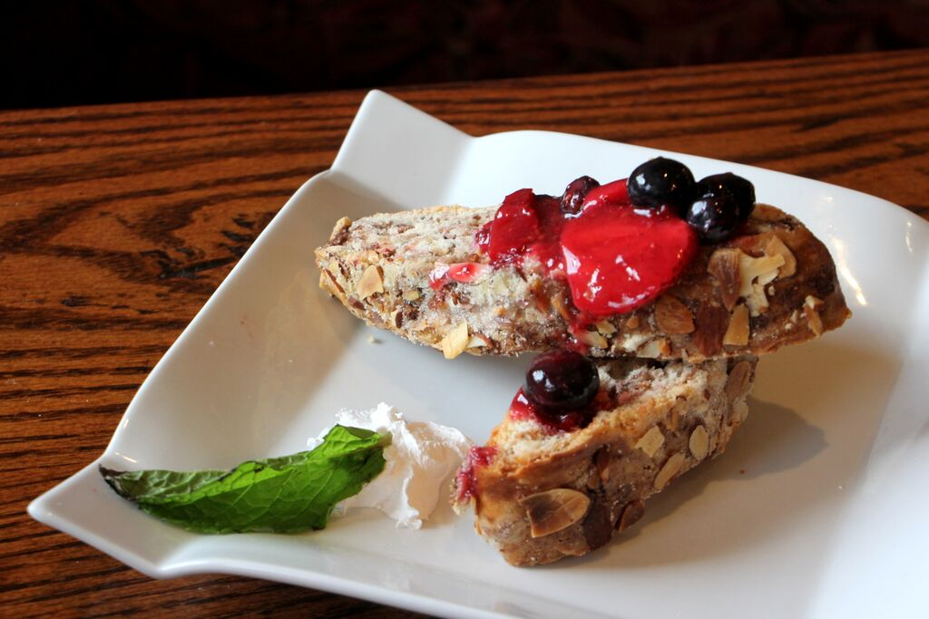 Bread topped with berries