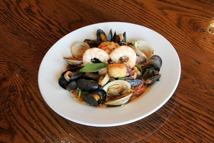 Clam, Mussels, and shrimp on a platter
