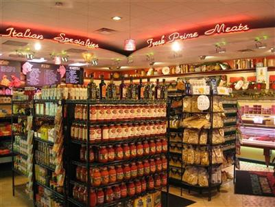 Interior shot of Primavera Italian Specialties with bottles of olive oil