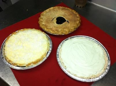 3 pies on a table