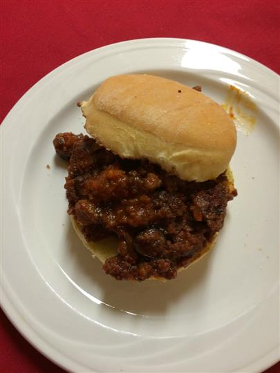 sloppy joe on a white plate