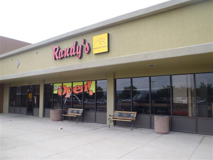 Randy's front entrance with sign