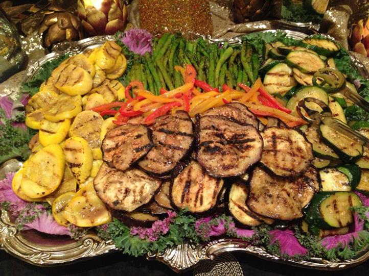 assortment of grilled vegetables on a tray