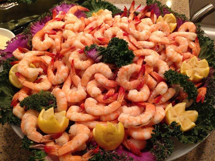 boiled shrimp on a tray