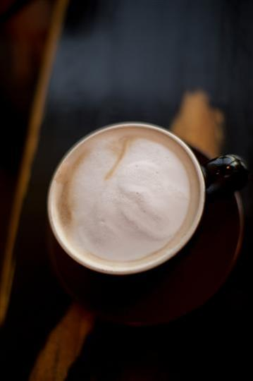 overhead view of a cup of coffee