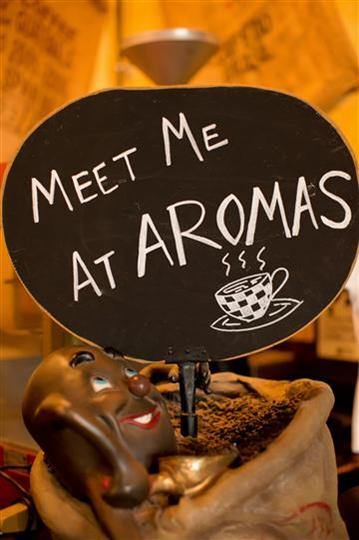 meet me at aromas written in chalk