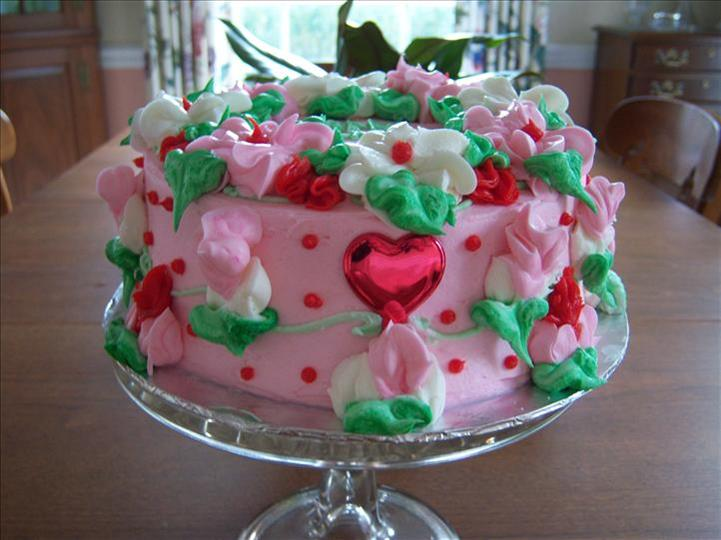 decorated pink cake