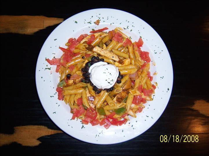 penne pasta with dip in the middle
