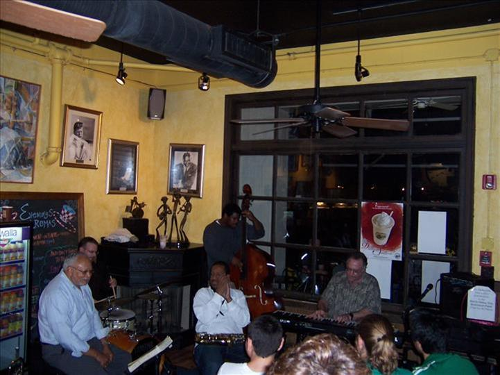 inside of aromas with band playing
