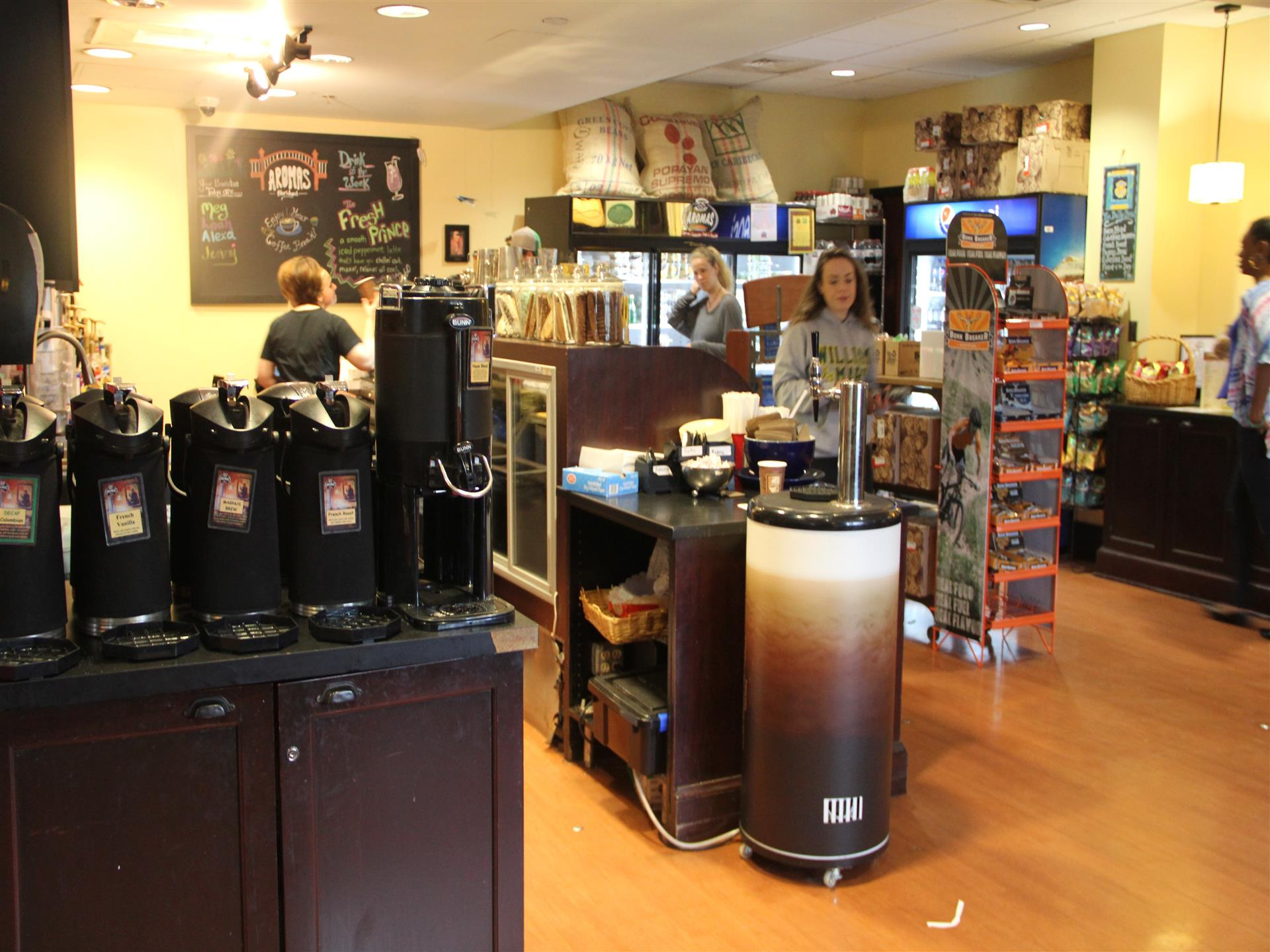 view of behind the counter of aromas world