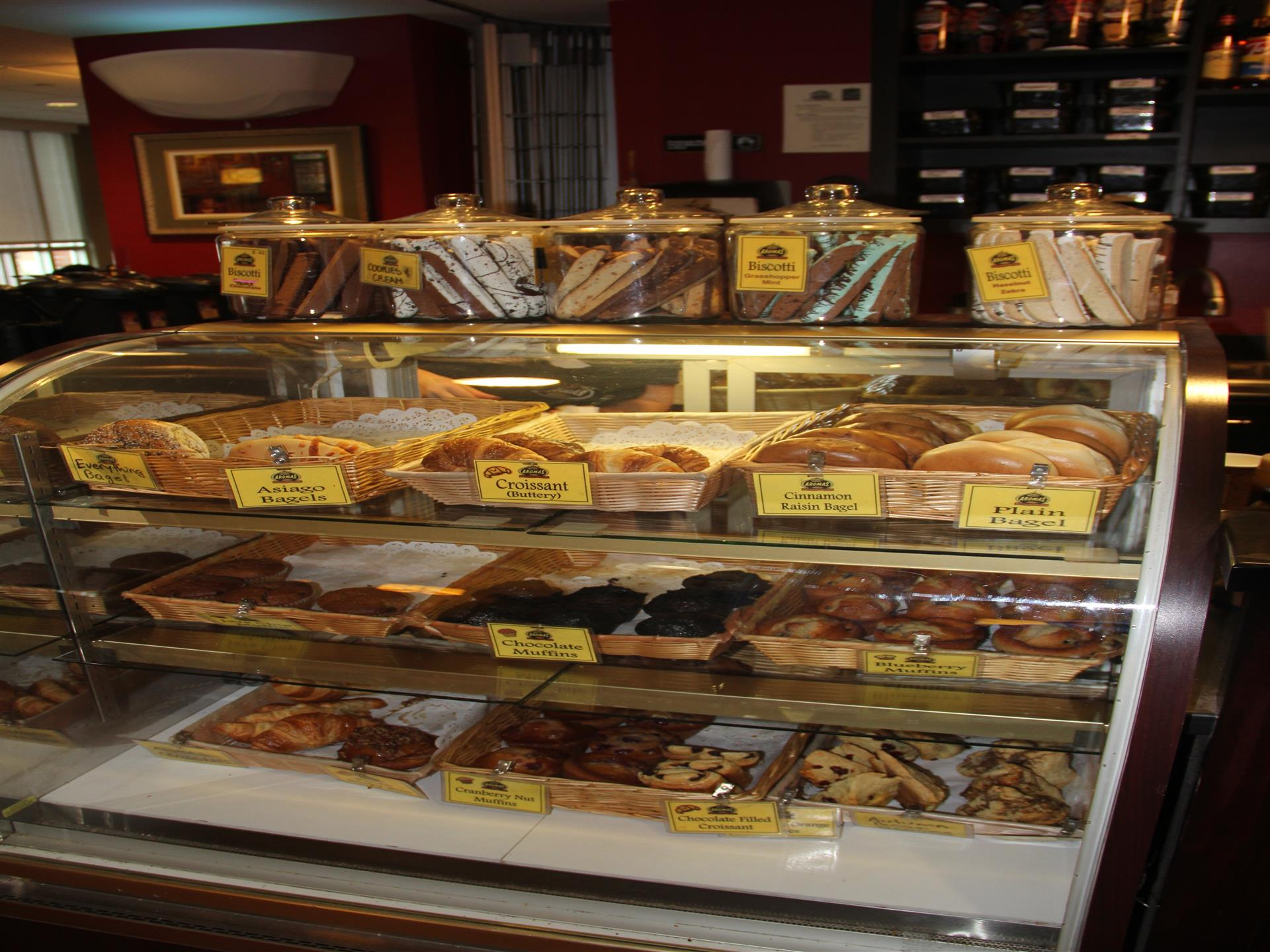 various bagels and donuts on counter