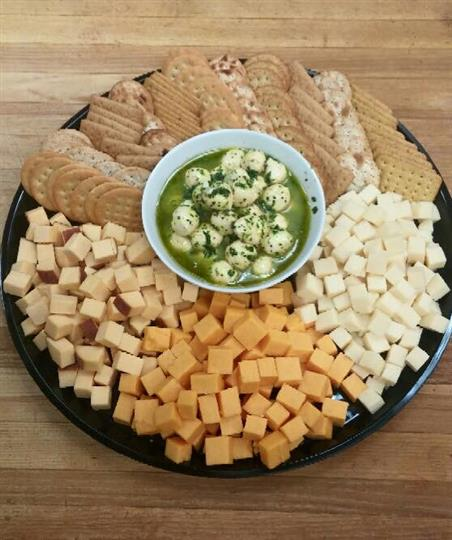 tray of cheese cut as cubes