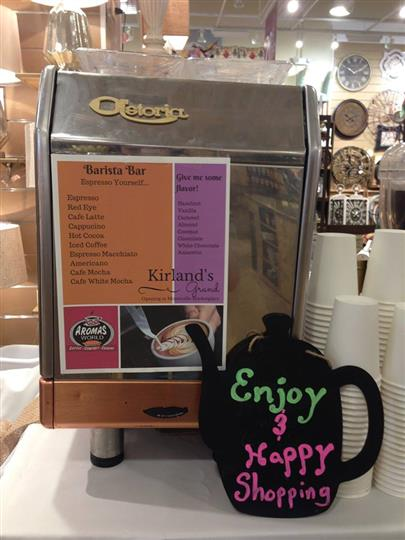coffee pot that reads enjoy and happy shopping
