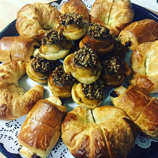 tray of croissants and pastries