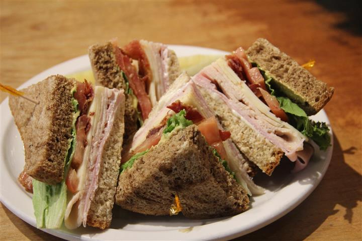 sliced turkey club sandwiches
