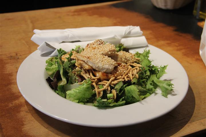 house salad topped with cheese