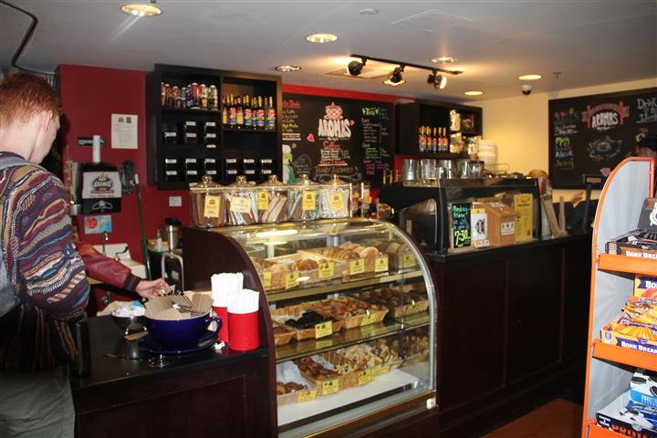 inside view of counter inside aromas