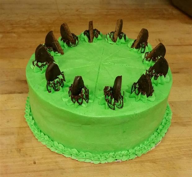 Chocolate Peppermint Cake with Peppermint Butter Cream, Garnished with Thin Mint Cookies.