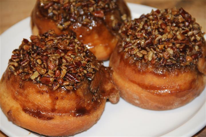 three pecan sticky buns