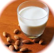 milk with almonds on a table